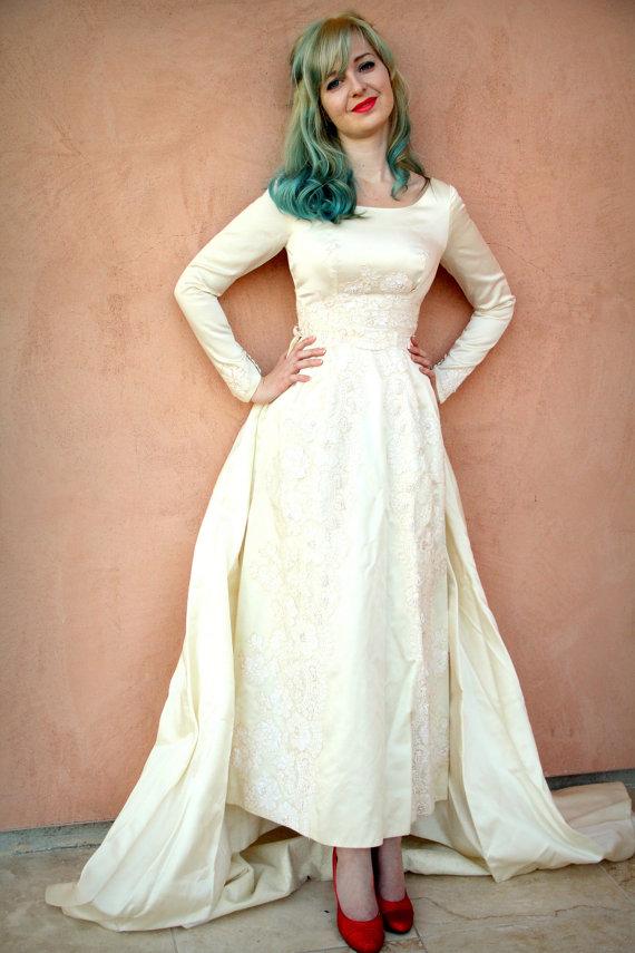 1950s Satin Vintage Wedding Dress