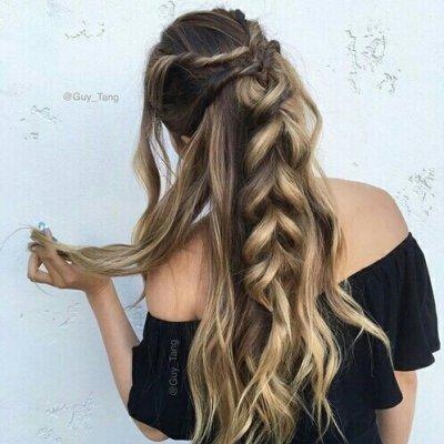 hair, hairstyle, long hair, brown hair, french braid,