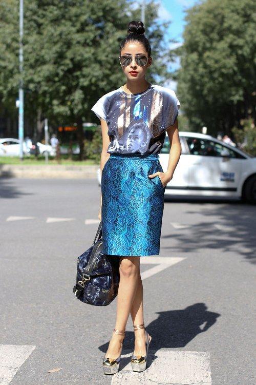 Metallic Skirt, T-Shirt, and a Sock Bun