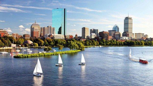 Boston, skyline, city, human settlement, boating,