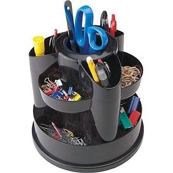 Black Plastic Rotating Desk Organizers