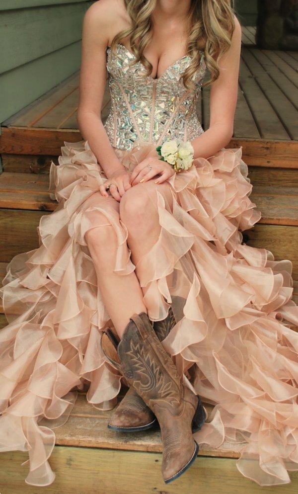 Ruffled Dress and Cowboy Boots