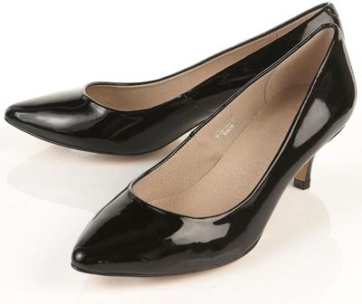 Topshop Jane Black Patent Leather Point Court Shoes
