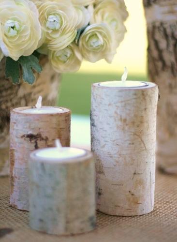 Birch Bark Log Votive Candle Holders