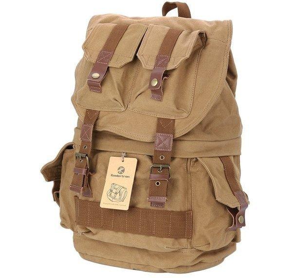 Canvas DSLR SLR Camera Shoulder Bag Backpack Rucksack Bag with Waterproof Cover
