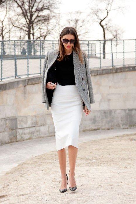 The Sleek White Skirt