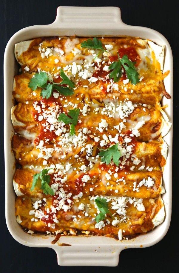 Moroccan Spiced Chicken Enchiladas with Harissa Red Sauce