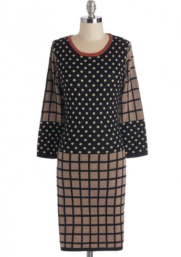 ModCloth Mid-length Long Sleeve Sweater Dress Hybrid Genre Dress