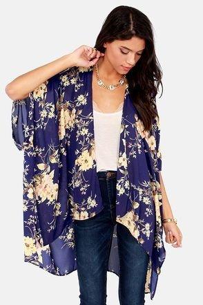 Deep Navy Floral Kimono