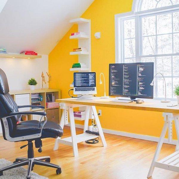 room, office, desk, furniture, floor,