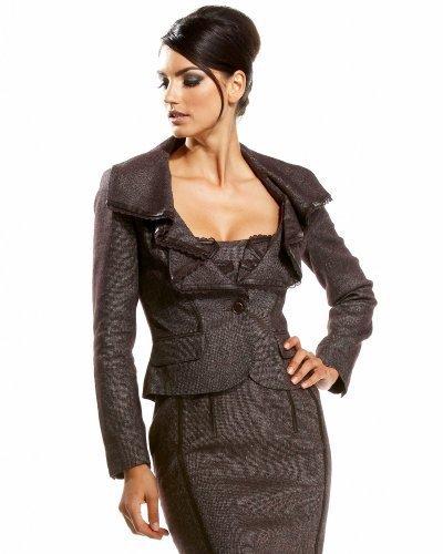 Ruffled Tweed Collar Blazer