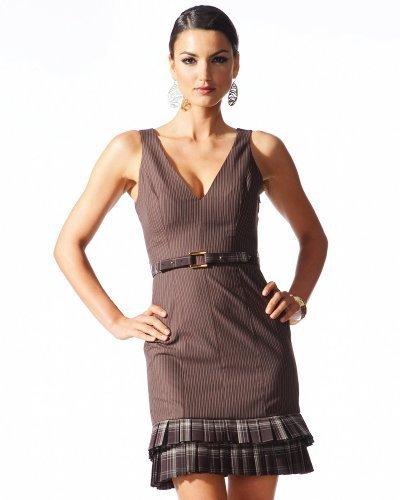 Pinstripe Plaid Ruffle Pencil Dress