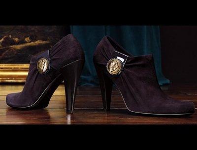 Hysteria High Heel Booties - Dark Grape Suede