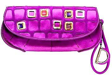 "Dior Purple Satin ""Dior 61"" Evening Clutch"