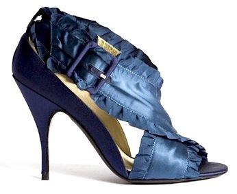 Bruno Frisoni Navy Blue Satin Ruffle Sandal