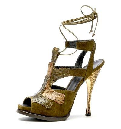 Donna Karan Suede and Exotic-leaf High-heel Gladiator Sandal
