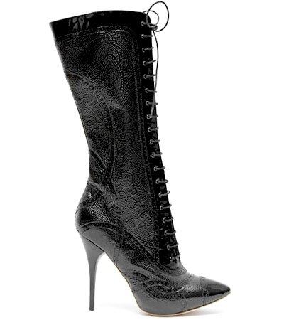 Alexander McQueen Embossed Patent-leather Brogue Boot