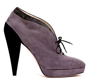 Suede Booties with Sculpted Heels by Prada