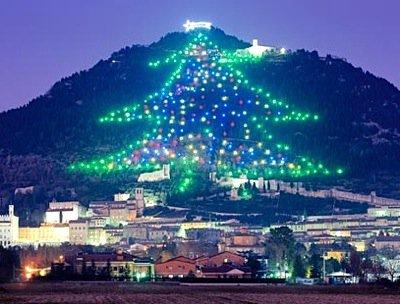 Christmas Tree on Monte Ingino in Italy