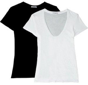 White/gray/black Stretch Cotton T-shirts