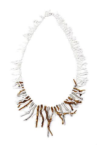 Aurélie Bidermann - Coral Necklace with Gold Detail ...