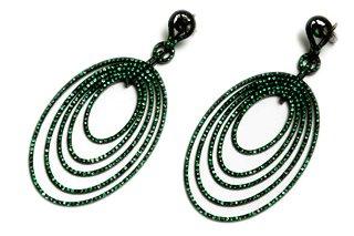 Eternamé - Black Gold and Green Sapphire Ellipse Earrings ...
