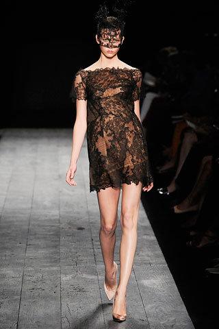 Black Short Sleeve Lace Dress