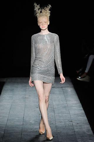 Grey Sheer Sequin Mini Dress