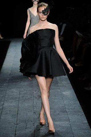 Strapless Black Dress with Ruche Detail