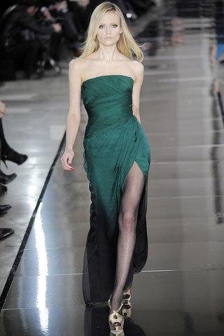 Green Silk Strapless Gown