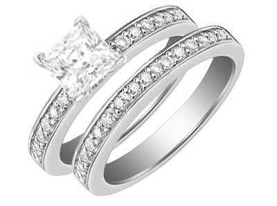 1.25 Carat Princess Diamond Bridal Set Engagement Ring on 14K White Gold ...