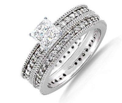 2.15 Carat Princess Diamond Engagement Ring on 14K White Gold ...