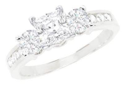 1 Carat Princess Diamond Engagement Ring on 14K White Gold ...