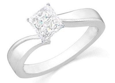 0.75 Carat Princess Diamond Engagement Ring on 14K White Gold ...