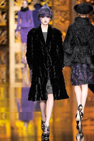 Christian Dior Layered Black Fur Coat