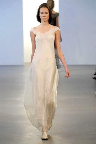 Long Ivory Colored Calvin Klein Wedding Dress