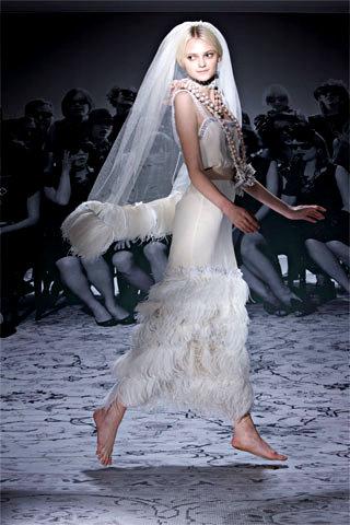 Feather Trimmed Lanvin Wedding Dress