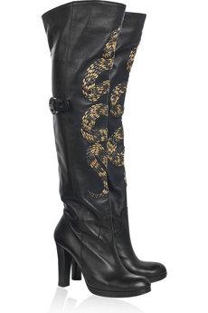 Thomas Wylde Snake Embellished Leather Boots