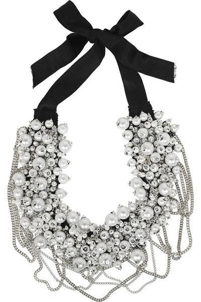 Glass Pearl Ribbon Necklace by Oscar De La Renta