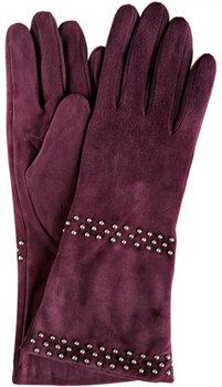 Portolano Aubergine Suede Triple Studded Gloves