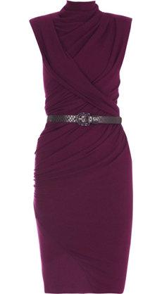 Donna Karan Ruched Belted Jersey Dress
