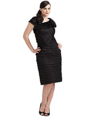 Stretch Taffeta Pleated Dress