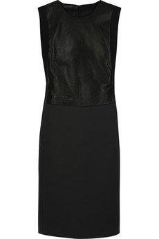 Calvin Klein Leather Paneled Wool Blend Dress