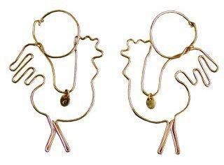Delfina Delettrez. Wire Cock Earrings in Gold