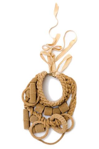 Dries Van Noten. Beaded Geometric Collar Necklace with Ribbon Closure