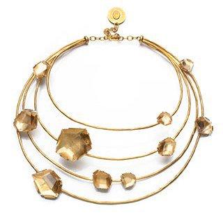 Hervé Van Der Straeten. Pépites Necklace in Gilded Brass and Natural Rock Crystal