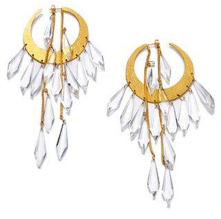 Hervé Van Der Straeten. Pépites Earrings in Gilded Brass and Natural Rock Crystal