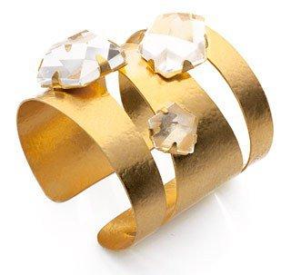 Hervé Van Der Straeten. Pépites Cuff in Gilded Brass and Natural Rock Crystal