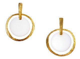 Hervé Van Der Straeten. Earrings in Gilded Brass and White Plexiglas