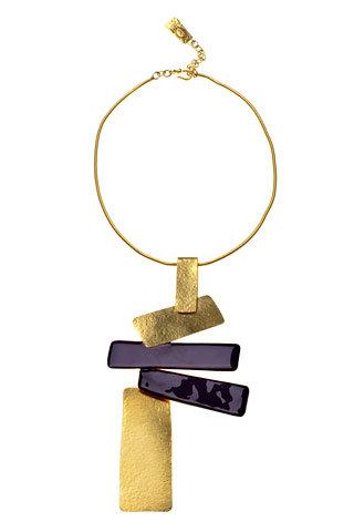 Hervé Van Der Straeten. Malevich Necklace in Gilded Brass and Purple Enamel